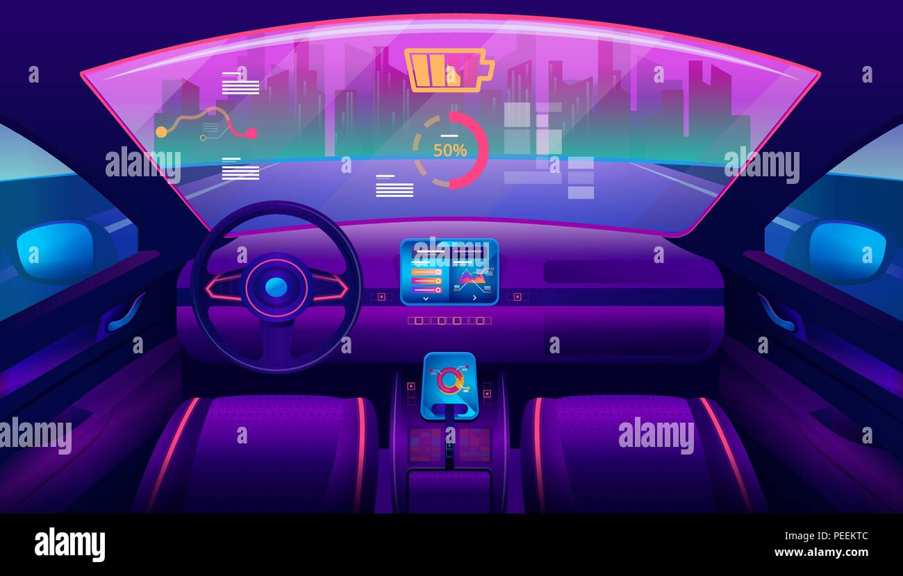 Automobile salon or driverless car interior view. Futuristic self-driving vehicle at road moving towards city. Auto piloted auto with chart and battery, smart car. Drive assistant, autopilot theme - Stock Vector