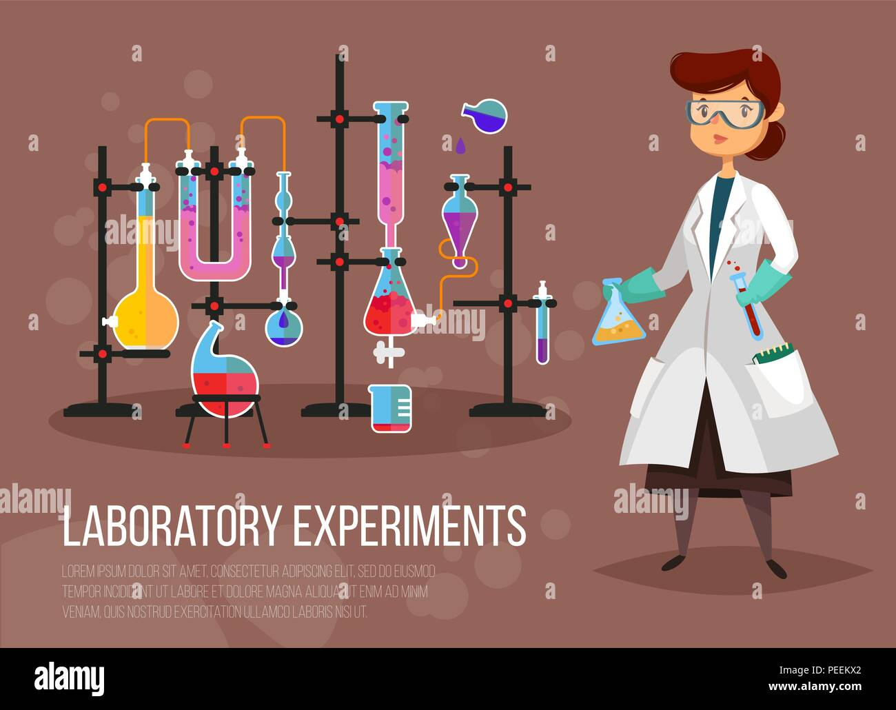 Scientist woman at laboratory or teacher doing chemical experiment. Chemist or pharmacist near glassware flask and tubes. Biology and chemistry, experiment and education, research theme - Stock Vector