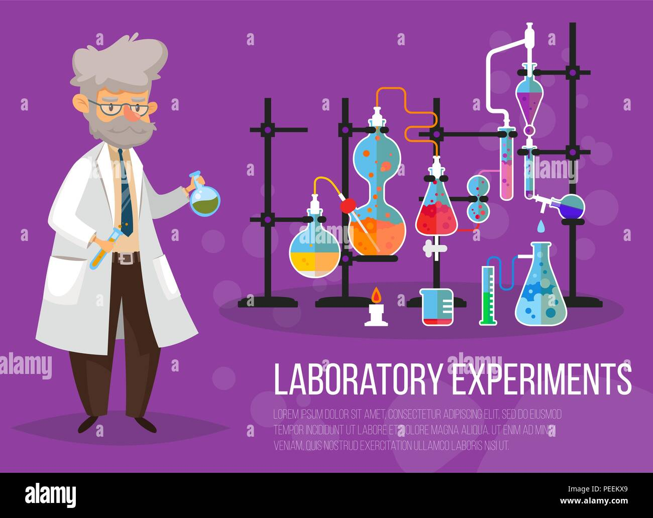 Chemist man near glassware flasks with liquid and tubes or pipes. Laboratory or lab with test-tube. Science and technology, medicine and pharmacy, chemistry and experiment theme - Stock Vector