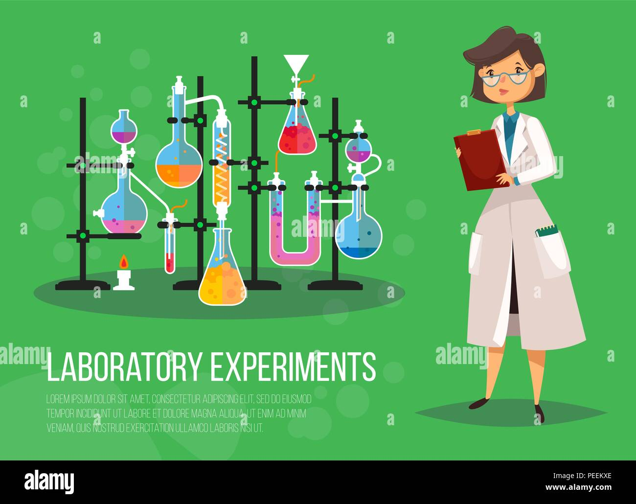 Chemist woman or biological scientist female, lady teacher at class laboratory near glassware flasks or test tubes with boiling liquid on fire. Experiment and research, study and science, pharmacology - Stock Vector