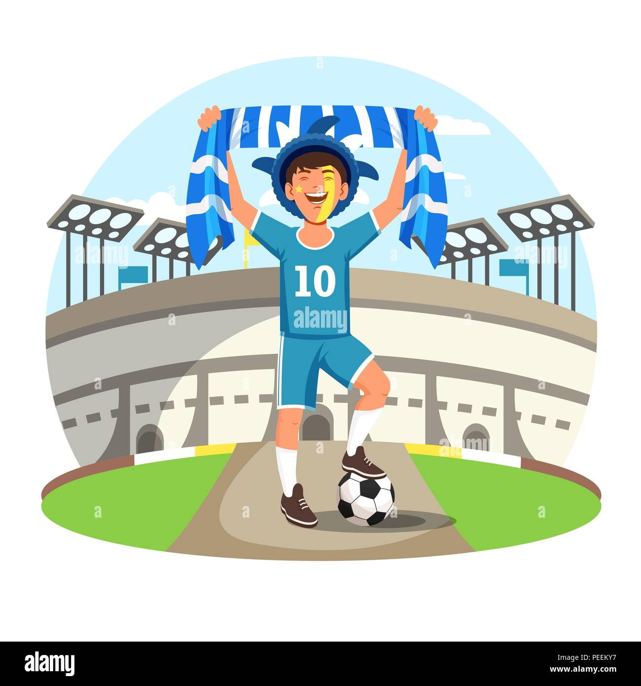 Soccer or football fan with flag and painted face and ball near sport stadium celebrating victory or goal. Happy man supporter or spectator. Cheering and 2018 world championship football cup - Stock Vector