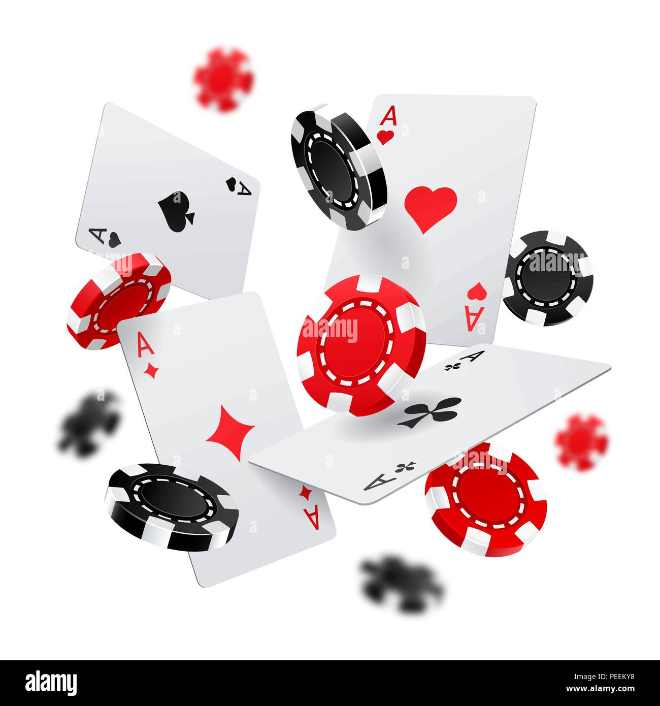 flying poker chips and aces cards for internet casino