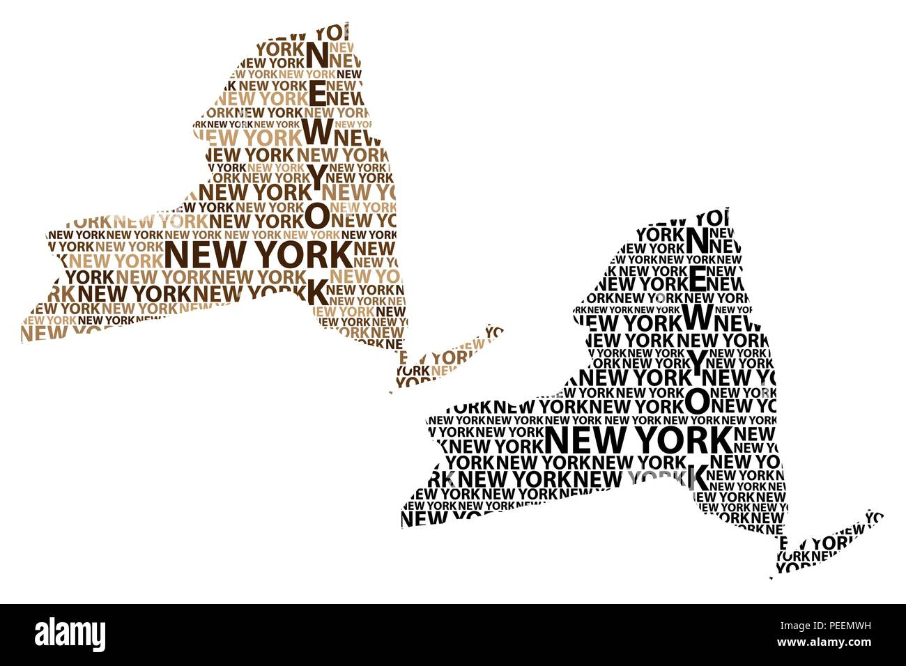 Sketch New York (United States of America) letter text map, New York ...