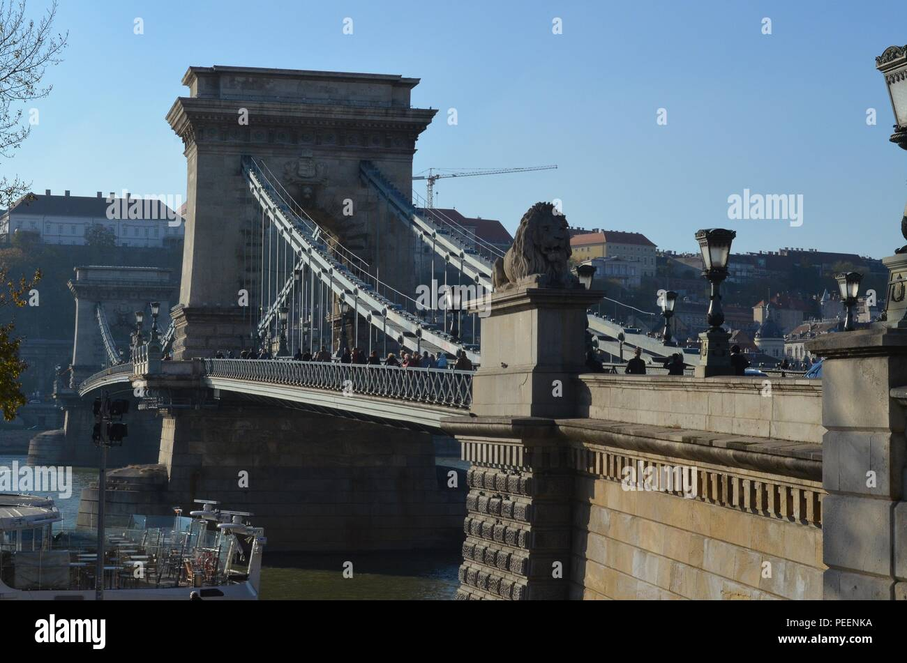 Chain Bridge in Budapest, Hungary, built in 1849 - one of the largest suspension bridges of its time, designed by William Tierney Clark - Stock Image