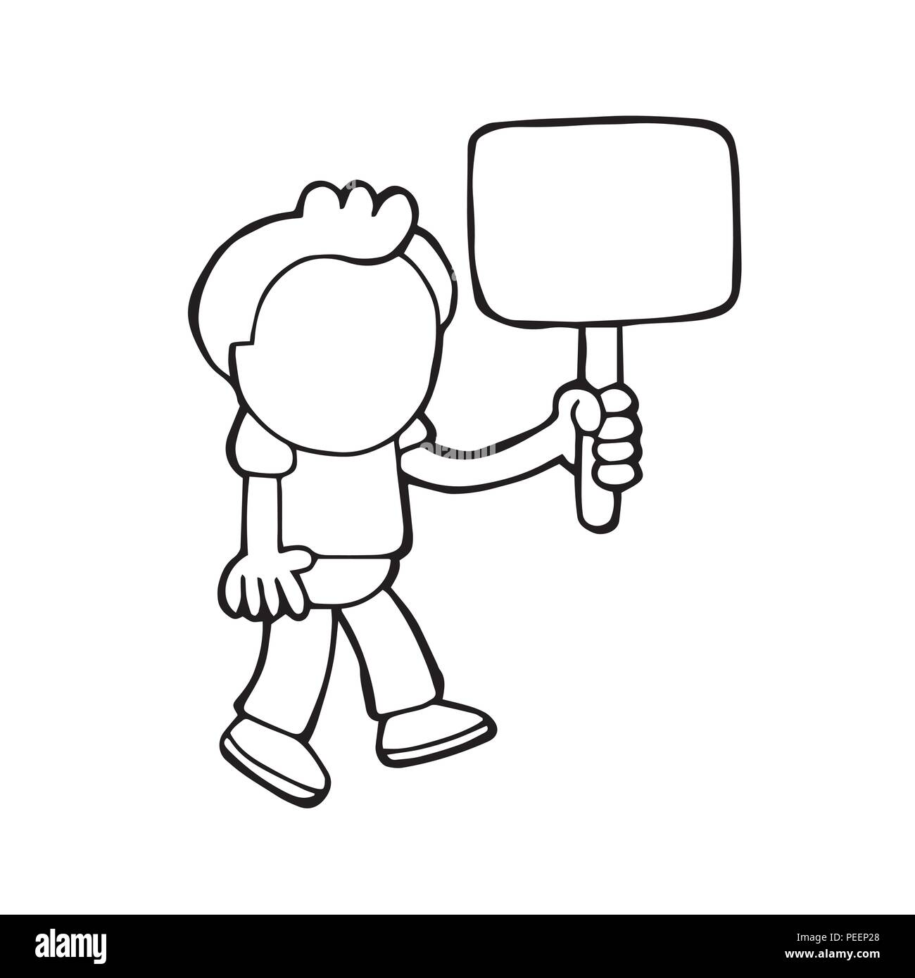 Vector hand-drawn cartoon illustration of man walking holding blank placard. - Stock Vector