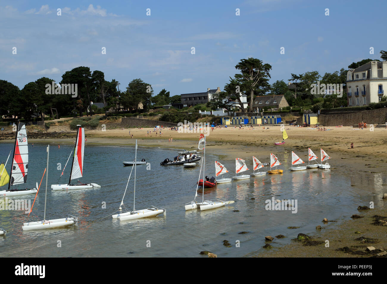 View of Grande Plage from Mane Rinville, Ile aux Moines, Morbihan, Brittany, France - Stock Image