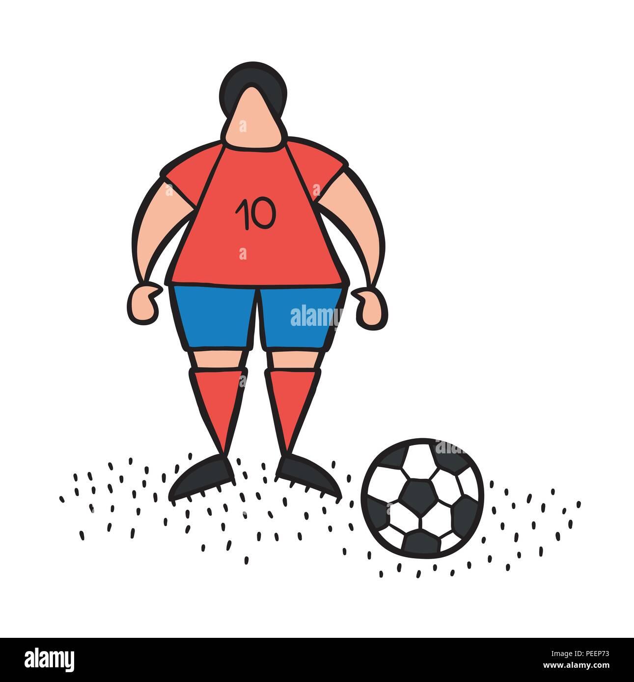 Vector illustration cartoon soccer player man standing with soccer ball. - Stock Vector