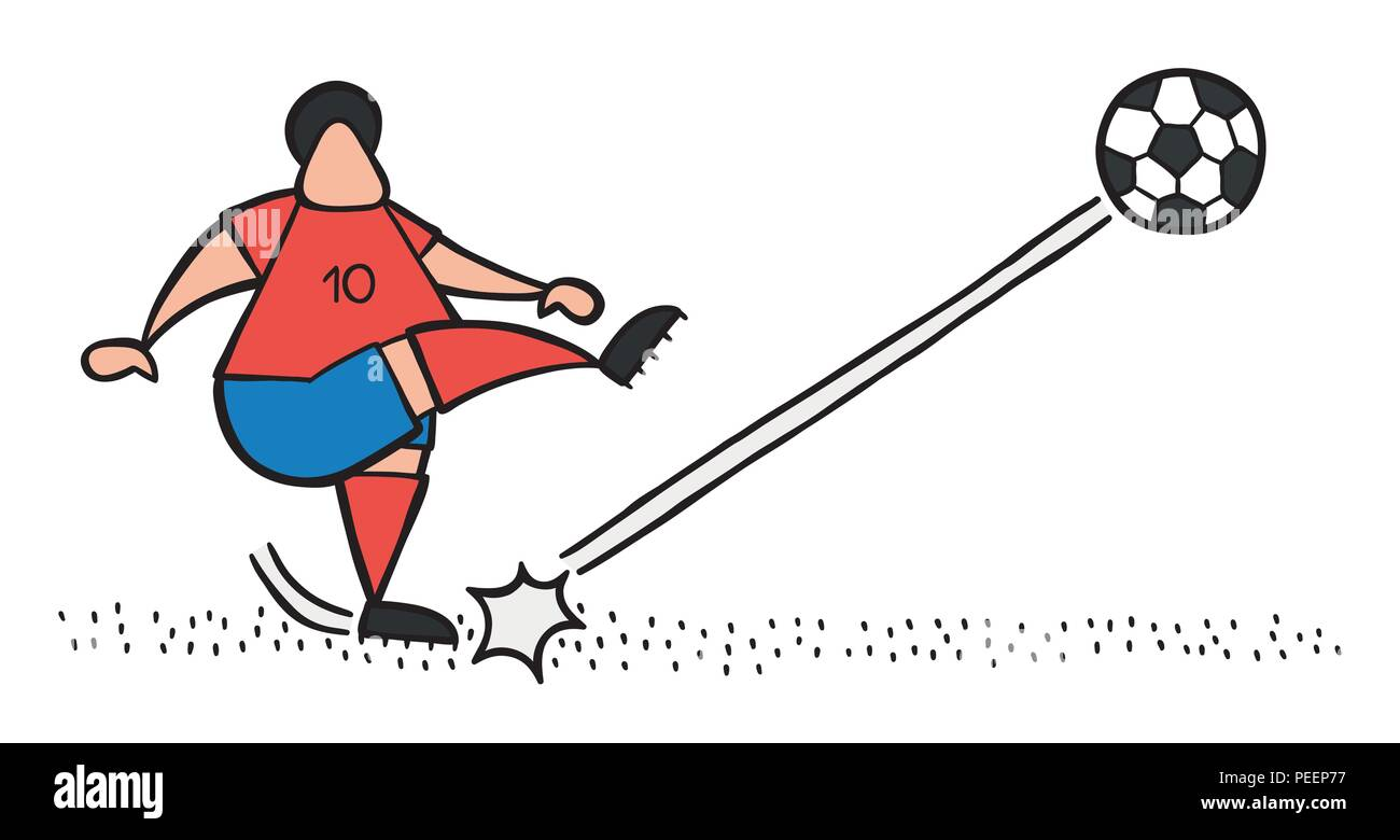 Vector illustration cartoon soccer player man shooting ball on pitch. - Stock Vector