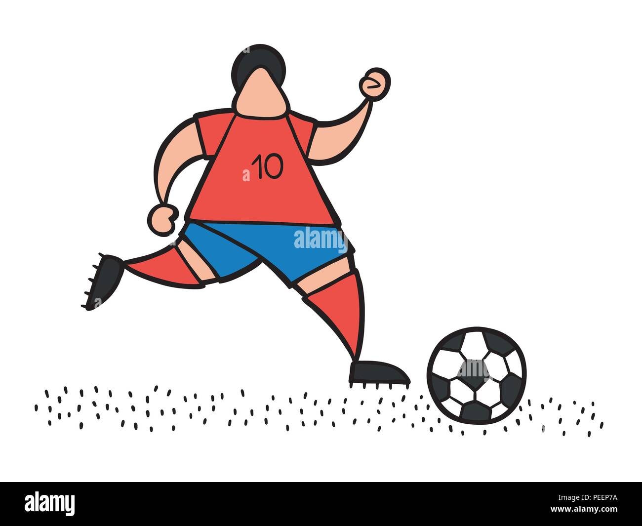 Vector illustration cartoon soccer player man running and dribble ball on pitch. - Stock Vector