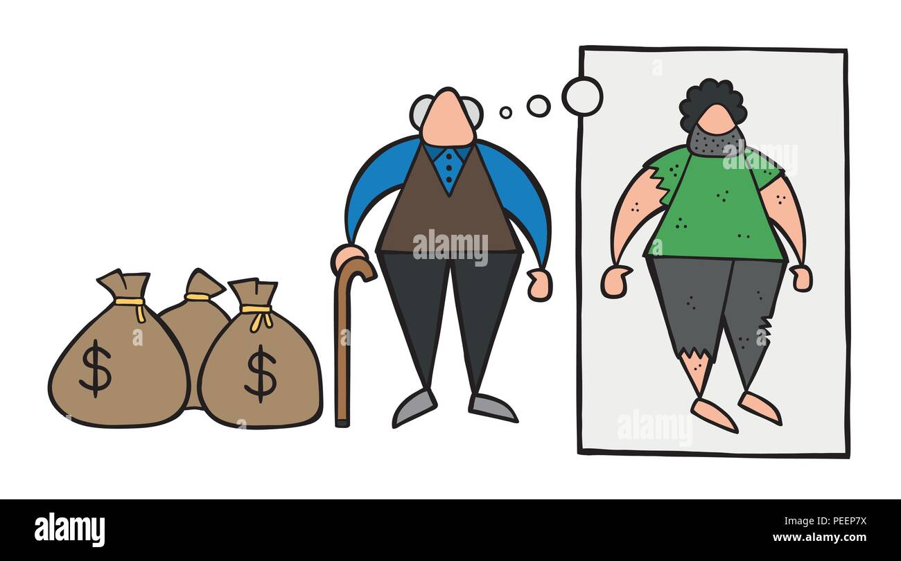 Vector illustration cartoon rich old man with dollar money sacks but dreaming or thinking about his poverty or homeless when he was young. - Stock Vector