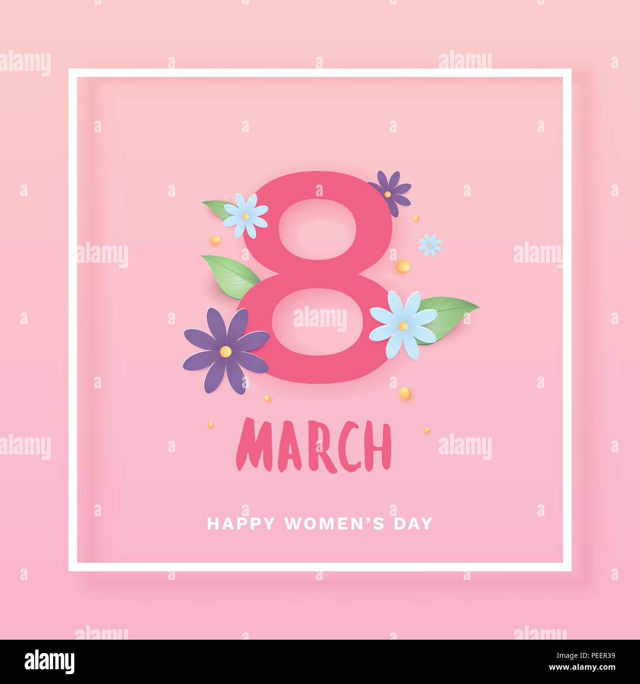 8 March. Happy Women's Day Square Cover. Template For