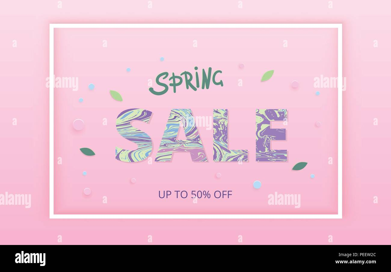 spring sale horizontal banner on pink background with frame
