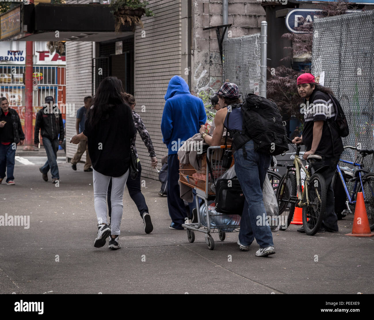 VANCOUVER, BC, CANADA - MAY 11, 2016: A all too common scene of homelessness and poverty that is Vancouver's Downtown Eastside. - Stock Image