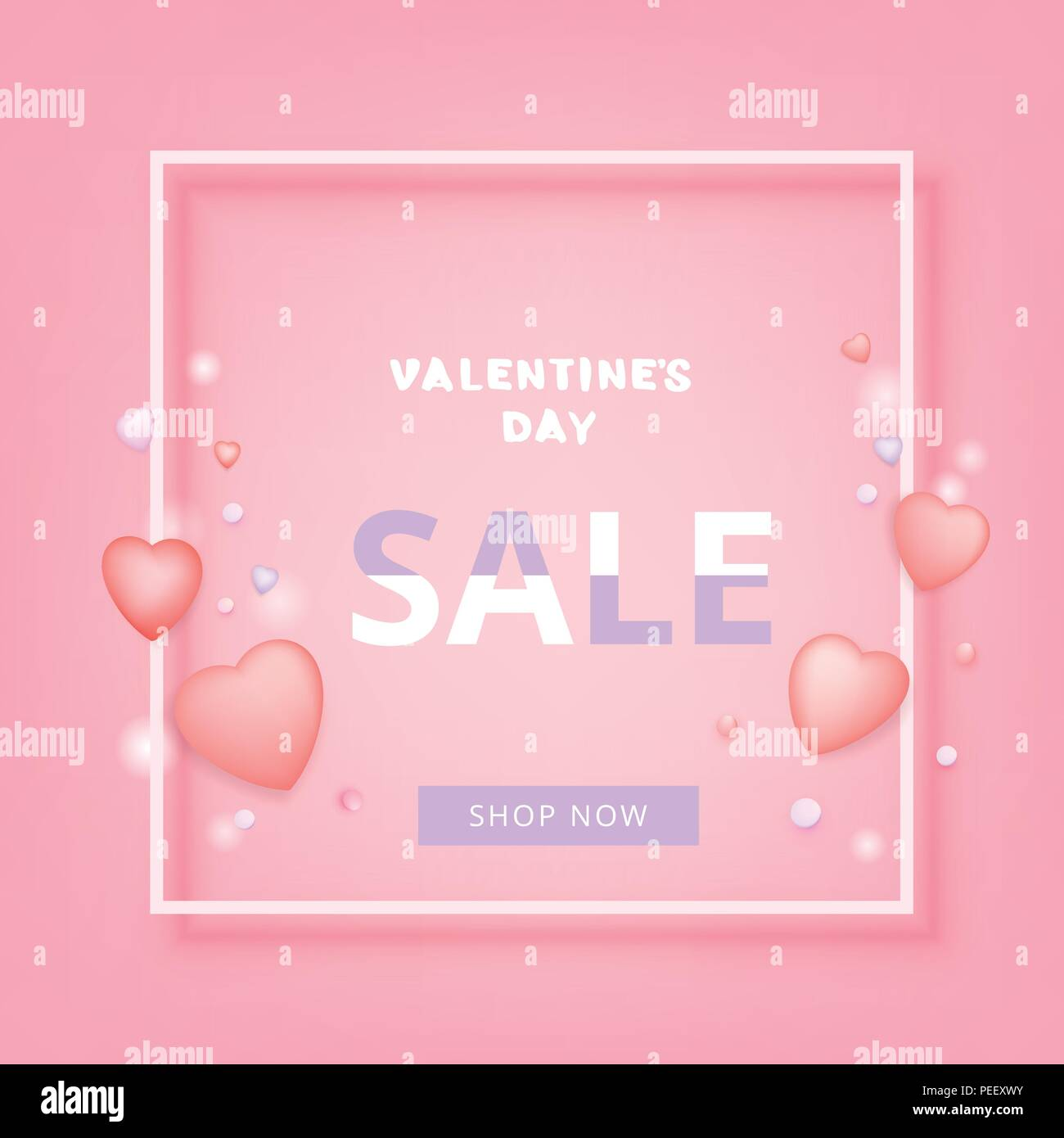 Valentines Day Sale Banner Element For Promotional Advertising