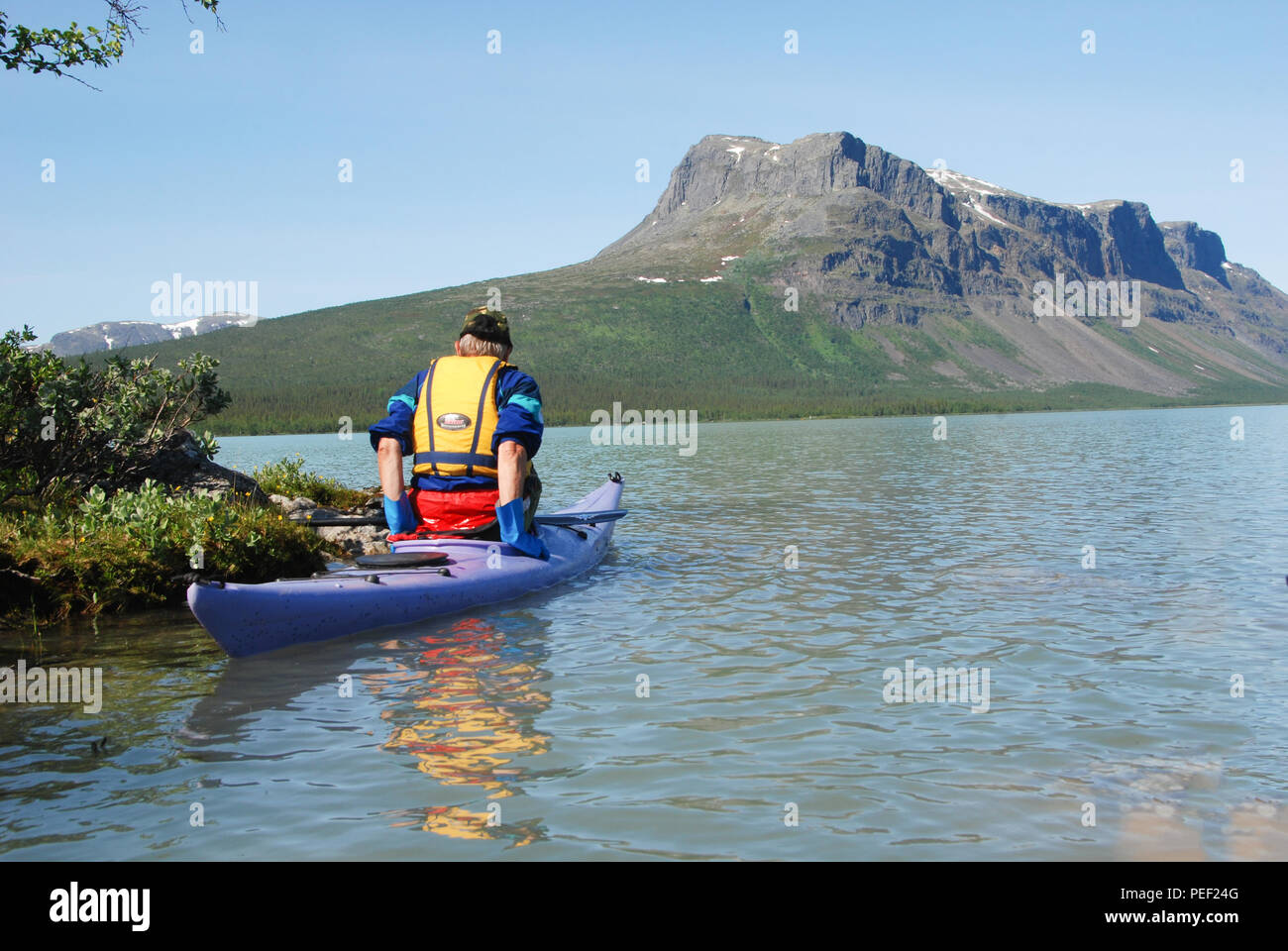 The beauty of Laponia Wilderness -Kayaking in Lake Laitaure - Stock Image