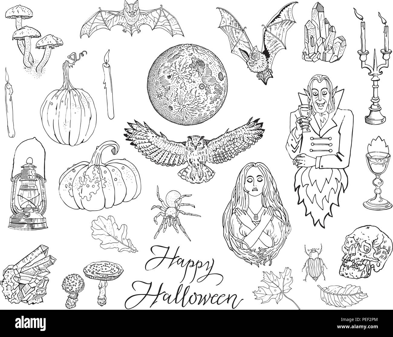 halloween, autumn, magic, gothic, fantasy doodle symbols, isolated
