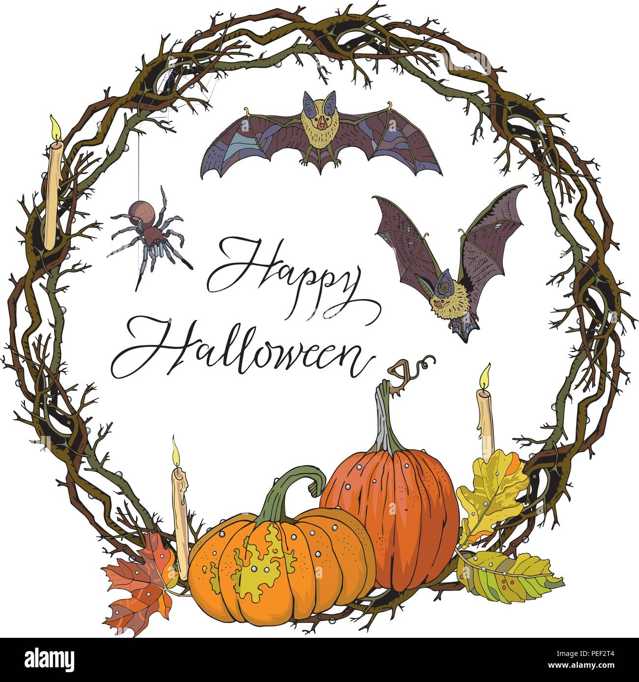Halloween round gothic branches wreath with pumpkins, candles, autumn leaves, bats and spider. Garland for invitation, greeting card, poster design, advertisement. Hand drawn vector illustration. - Stock Vector
