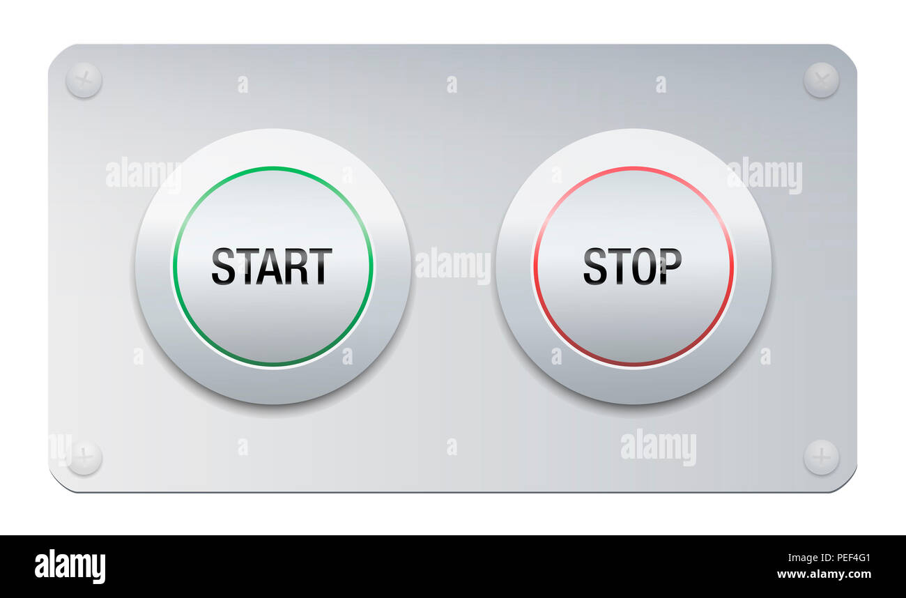 Start and stop button on a chrome surface panel for instruments, machines, gadgets. - Stock Image