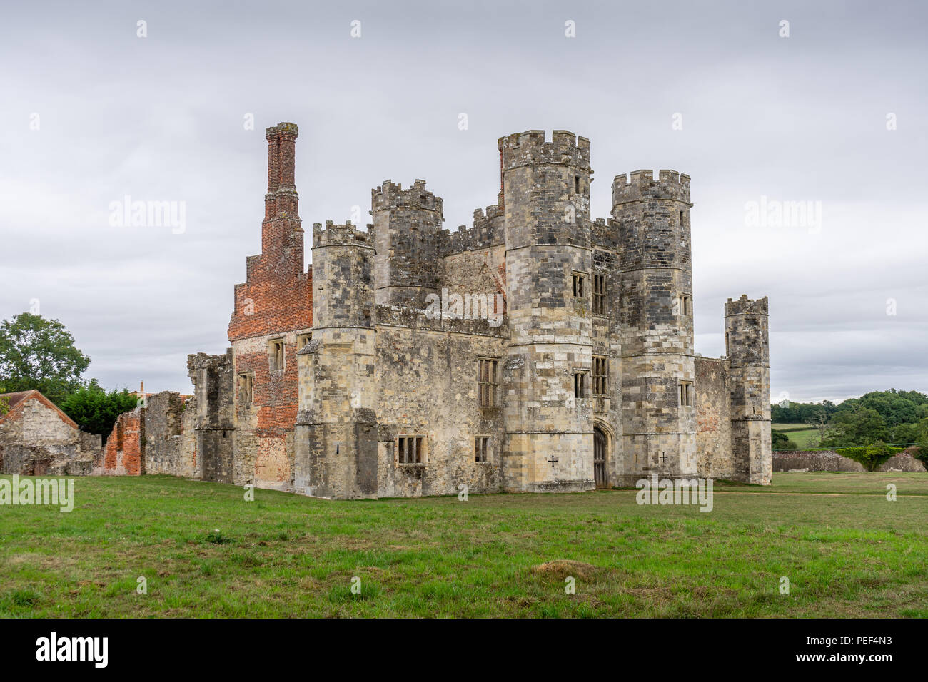 The remains of the medieval Titchfield Abbey surrounded by the Hampshire countryside, English Heritage site, Titchfield, Hampshire, England, UK - Stock Image