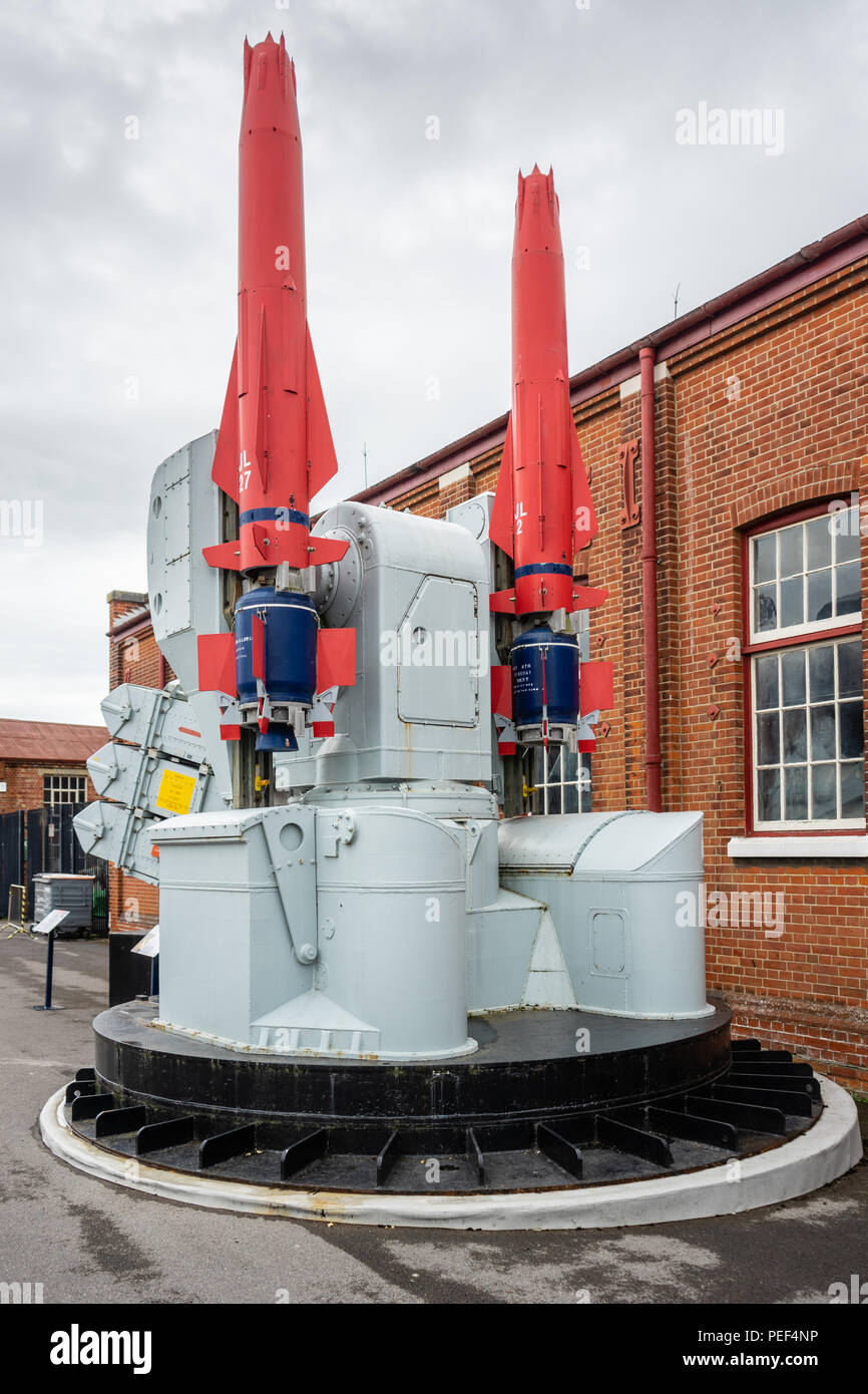 Sea Dart missile launcher in use from 1977-2012 used to protect the Royal Navy fleet from air attack, exhibited in a museum in Gosport, England, UK - Stock Image