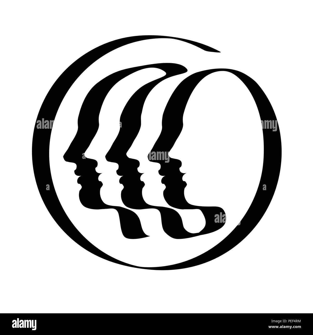 Three Or Six Human Profile Drawn By Ribbon Like Single Line