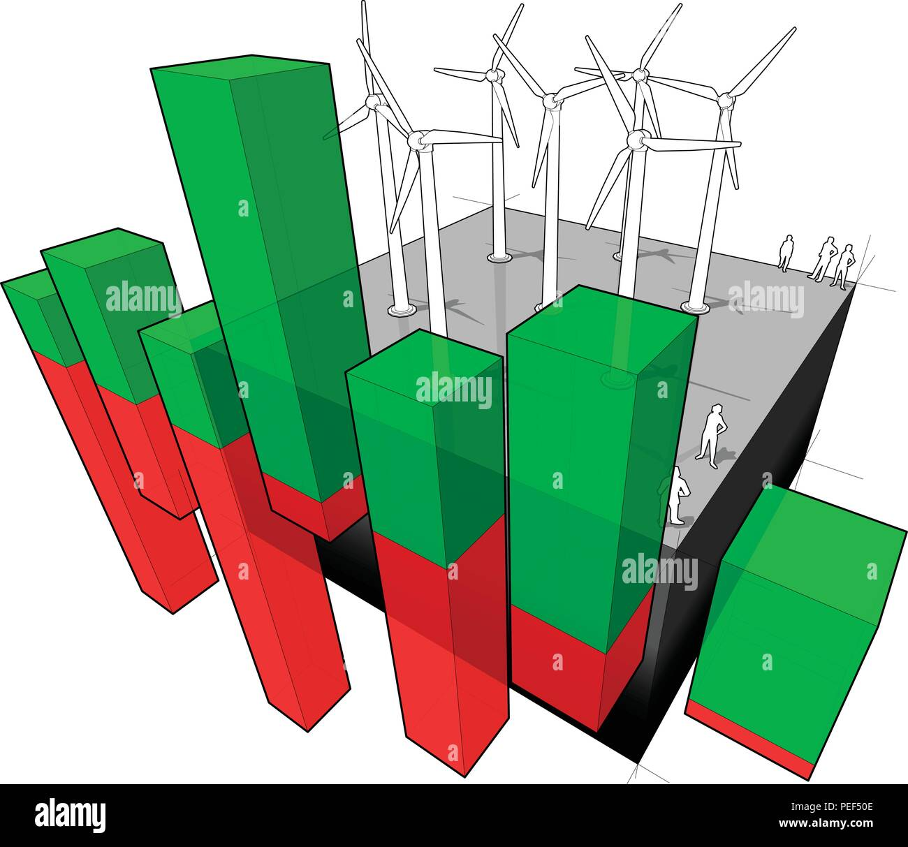 Awe Inspiring Wind Turbines Farm And Abstract Business Diagram Stock Vector Art Wiring Cloud Venetioscosaoduqqnet