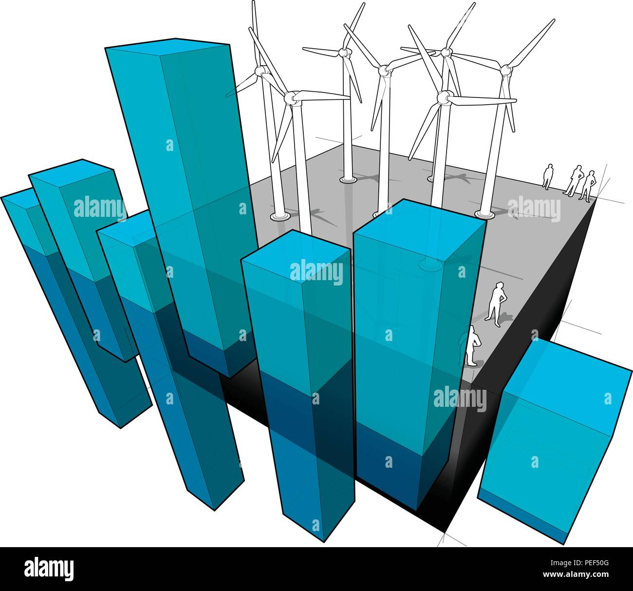 Wind Turbines Farm And Abstract Business Diagram Stock Vector Art