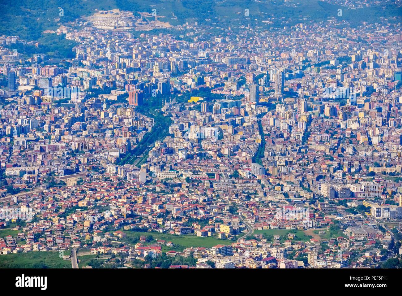 Tirana city center from Mount Dajti, Dajti National Park, Qark Tirana, Albania - Stock Image