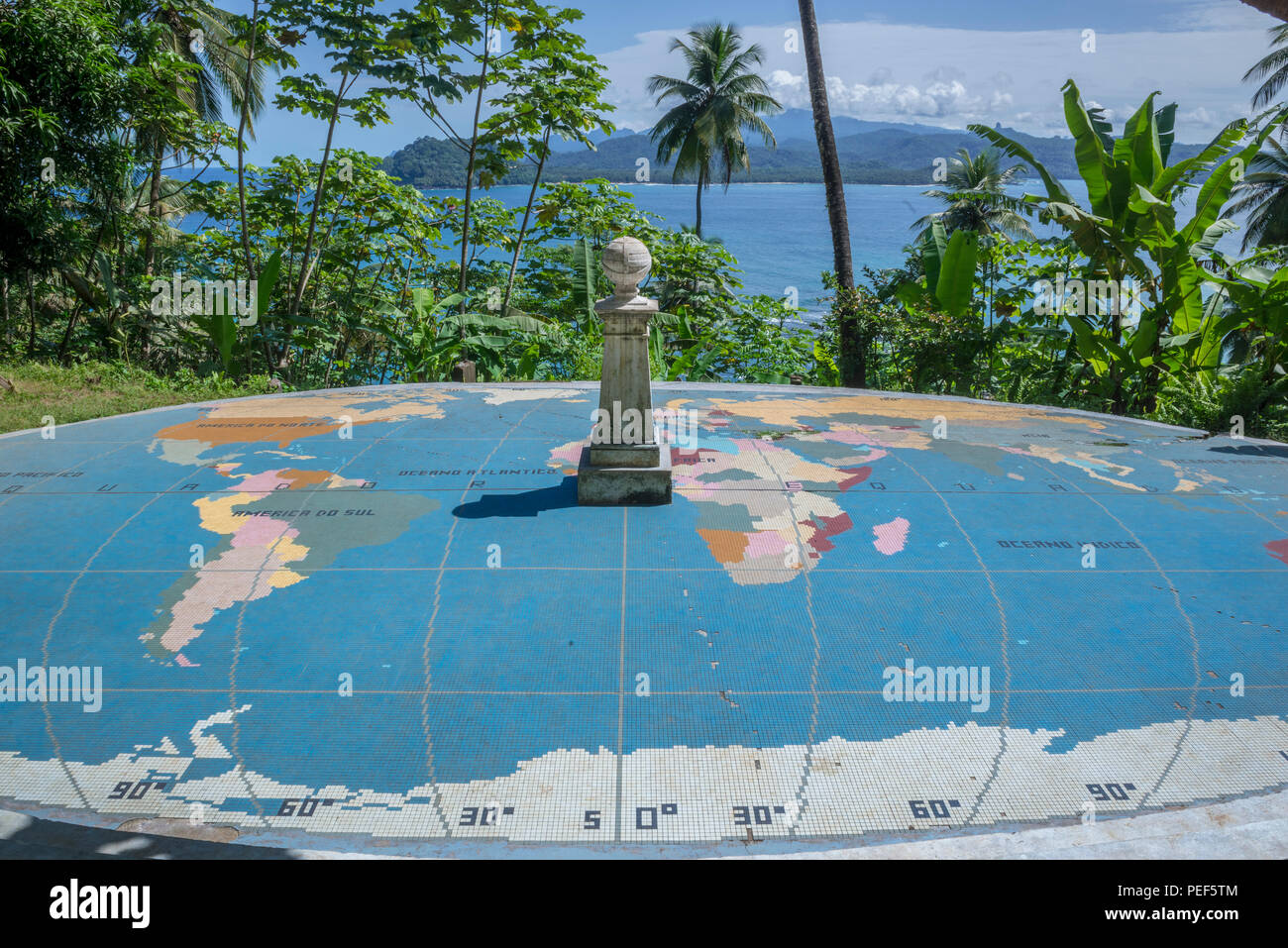 World map mosaic marks the exact location of the parallels ...