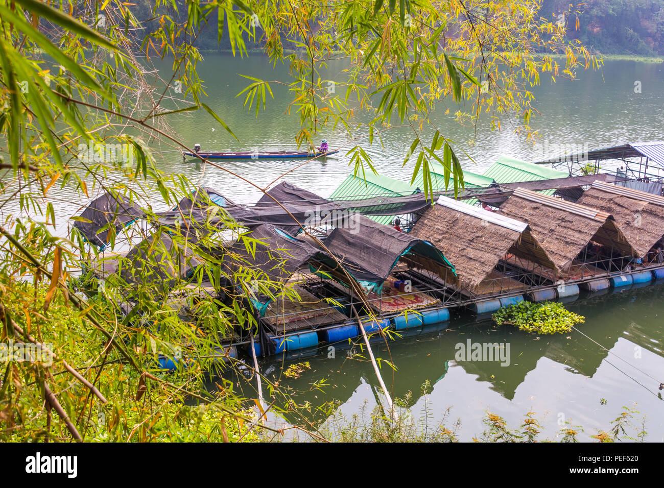 Floating Raft Restaurant in Ubon Ratchathani, Thailand - Stock Image