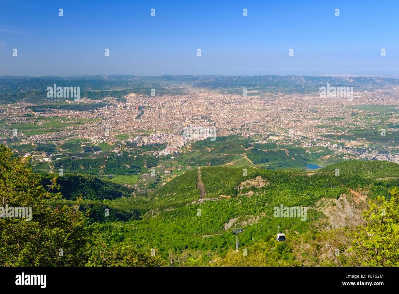 Cable car, view over Tirana from Mount Dajti, National Park Dajti, Qark Tirana, Albania Stock Photo