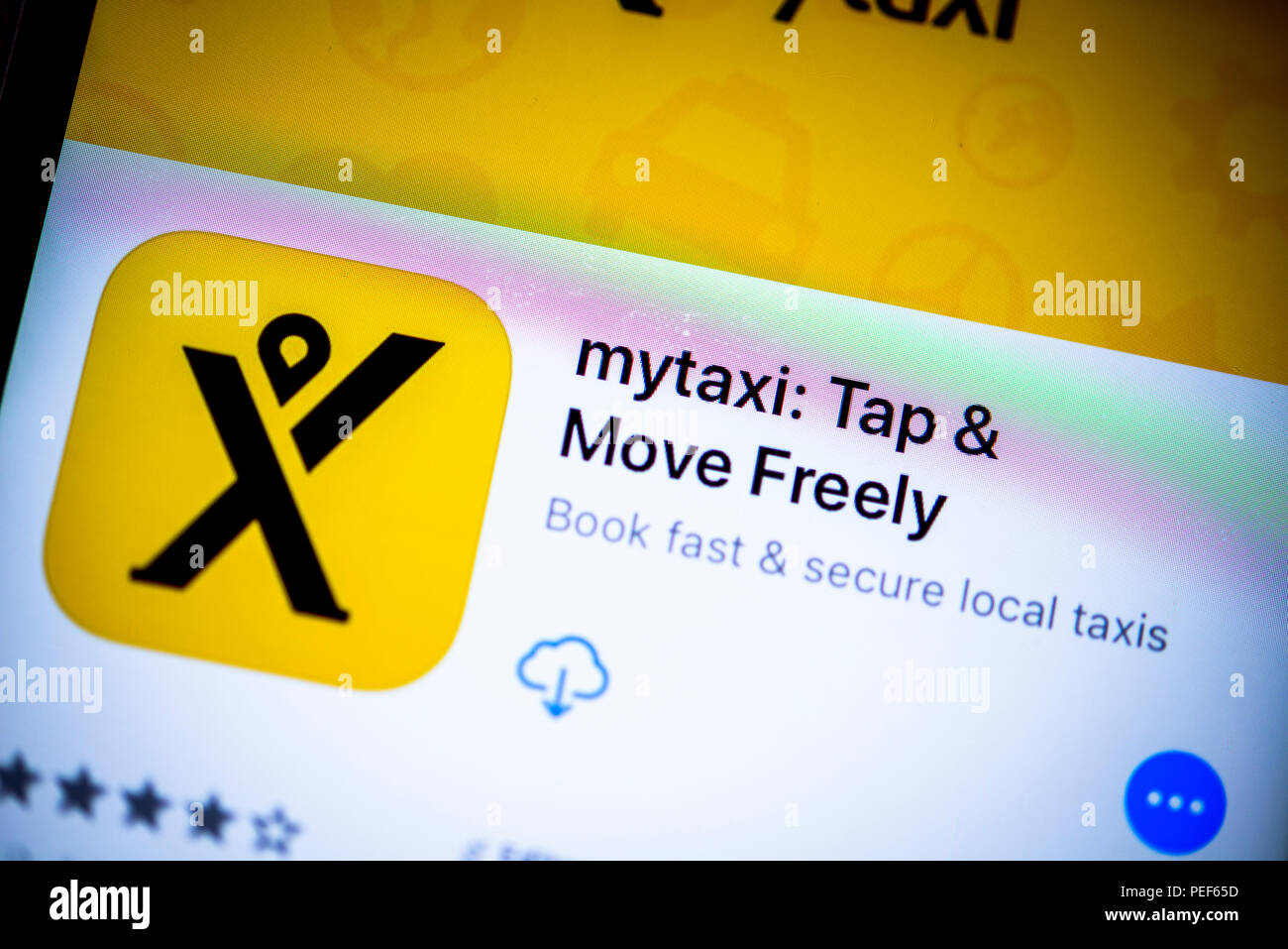 Mytaxi app, taxi hauling app, in the Apple App Store, app icon, display, iPhone, iOS, smartphone, close-up, Germany - Stock Image