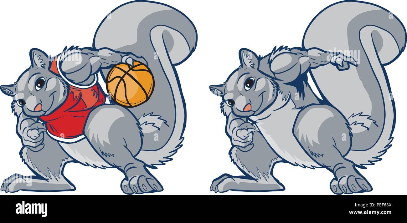 Vector cartoon clip art illustration of a tough but smiling muscular squirrel in a basketball uniform palming a ball. Also contains a plain version. - Stock Vector