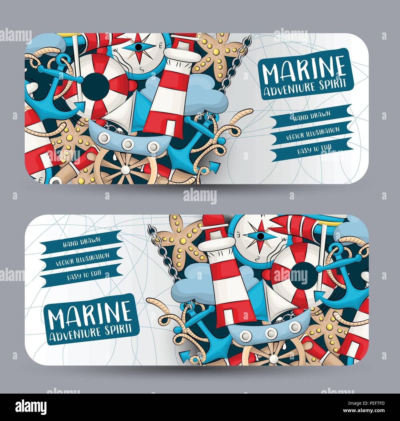 Marine Nautical Travel Concept Horizontal Banner Template Set