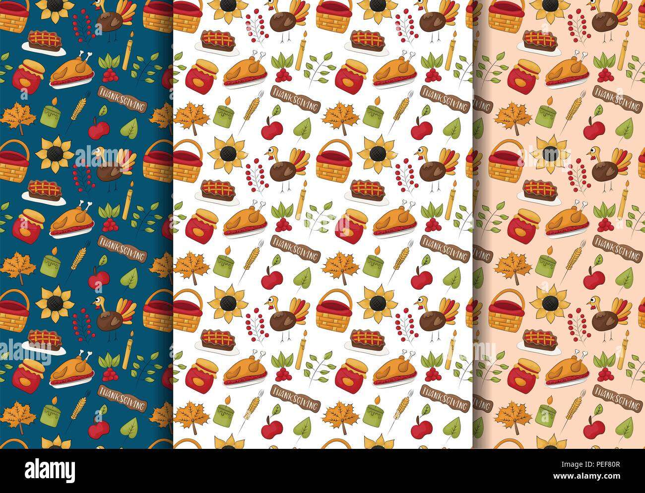 Thanksgiving Seamless Pattern Background Set Traditional