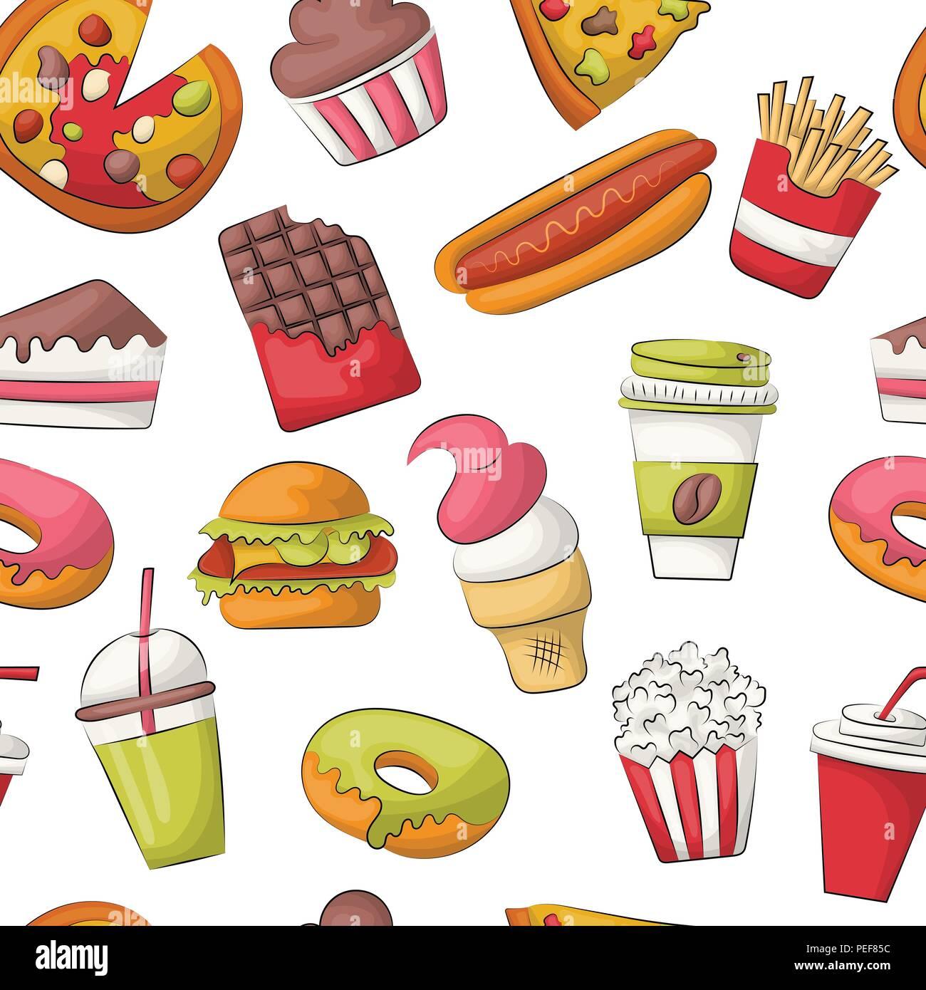 Fast Food Seamless Pattern Background Restaurant Menu Decoration