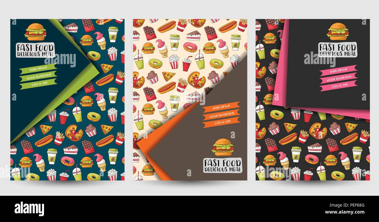 Fast Food Flyer Set Poster Template For A Magazine Advertisement