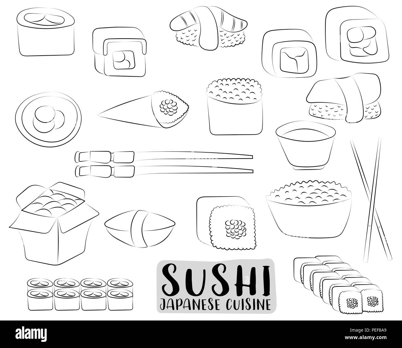 Sushi And Rolls Set Japanese Cuisine Concept Asian Restaurant Menu Or Advertisement Black White Outline Coloring Page Kids Game Vector Illust