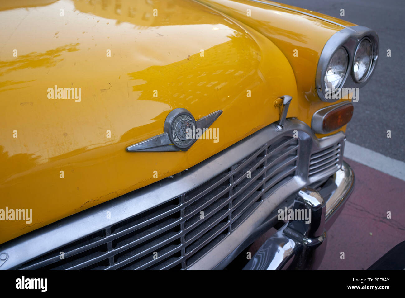 Front of a vintage American Checker taxicab in New York City - Stock Image