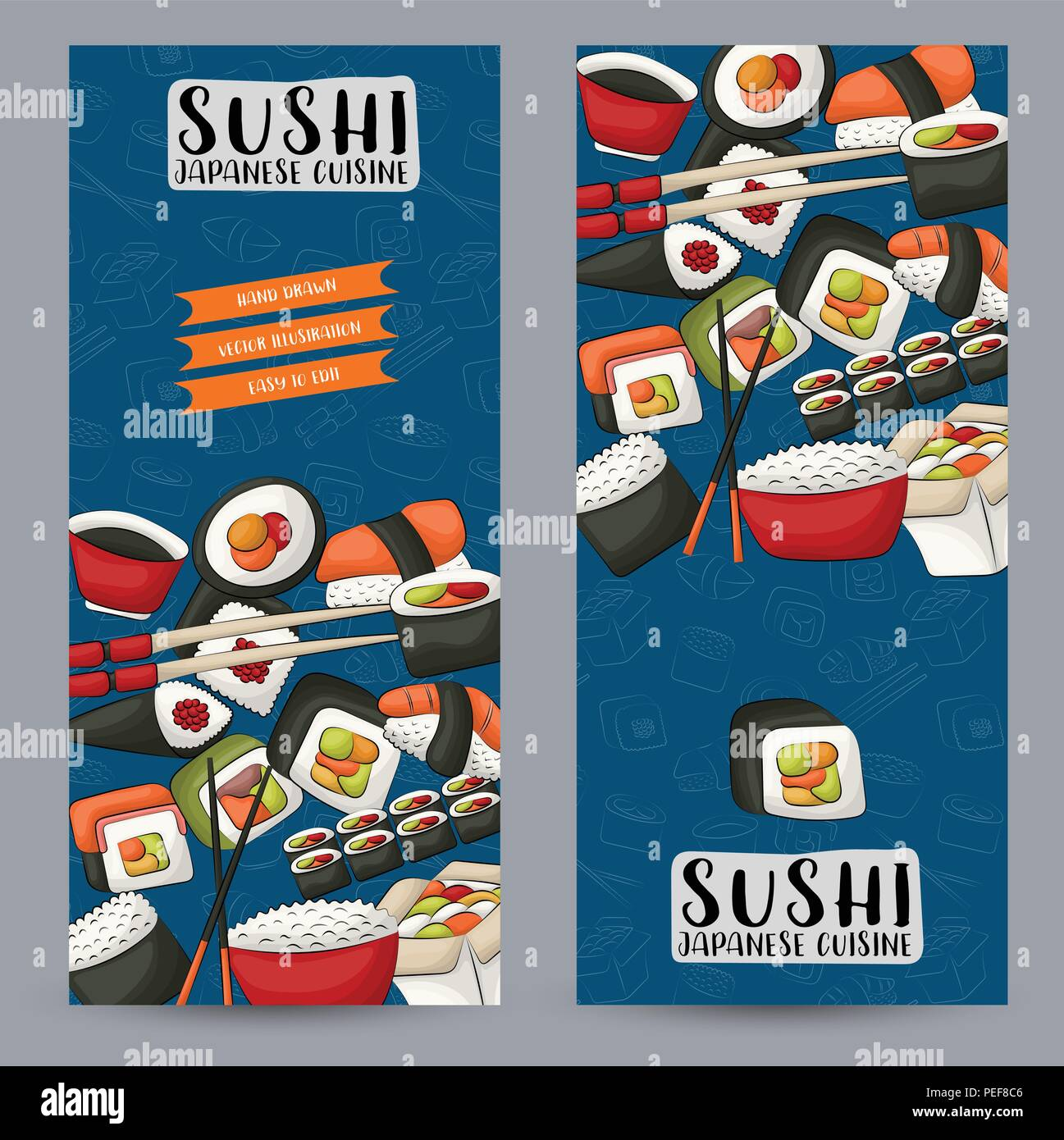 Sushi Bar And Asian Restaurant Vertical Banner Set Japanese Food
