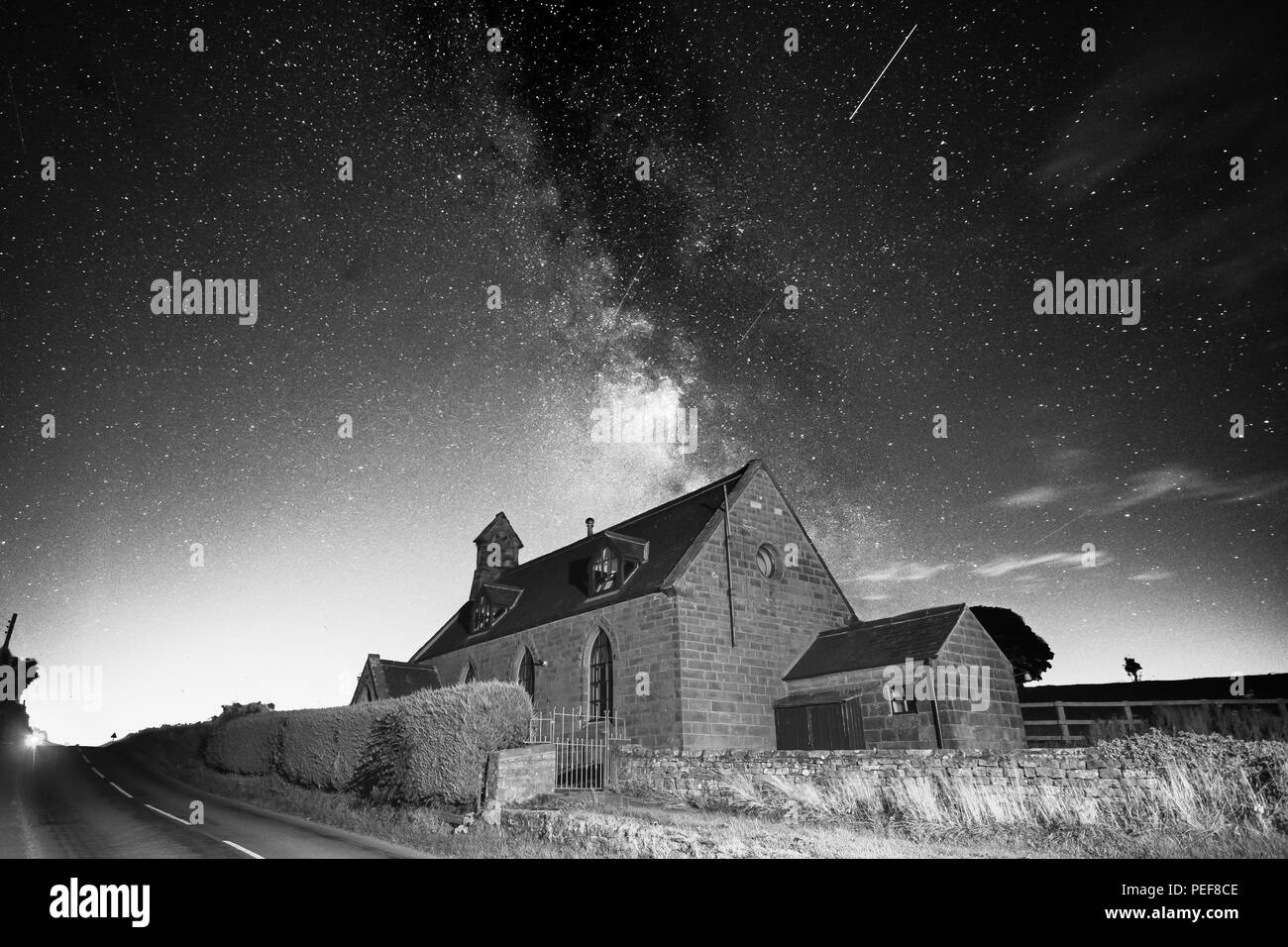 Lots of stars and the magnificent Milky Way above the dark sky  landscapes of the North Yorks Moors - Stock Image