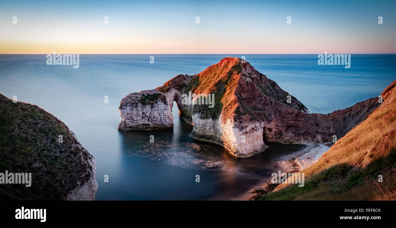There are so many fantastic views on the great Yorkshire coast. This is Flamborough, home of the amazing cliffs, lighthouse and fantastic wildlife - Stock Image