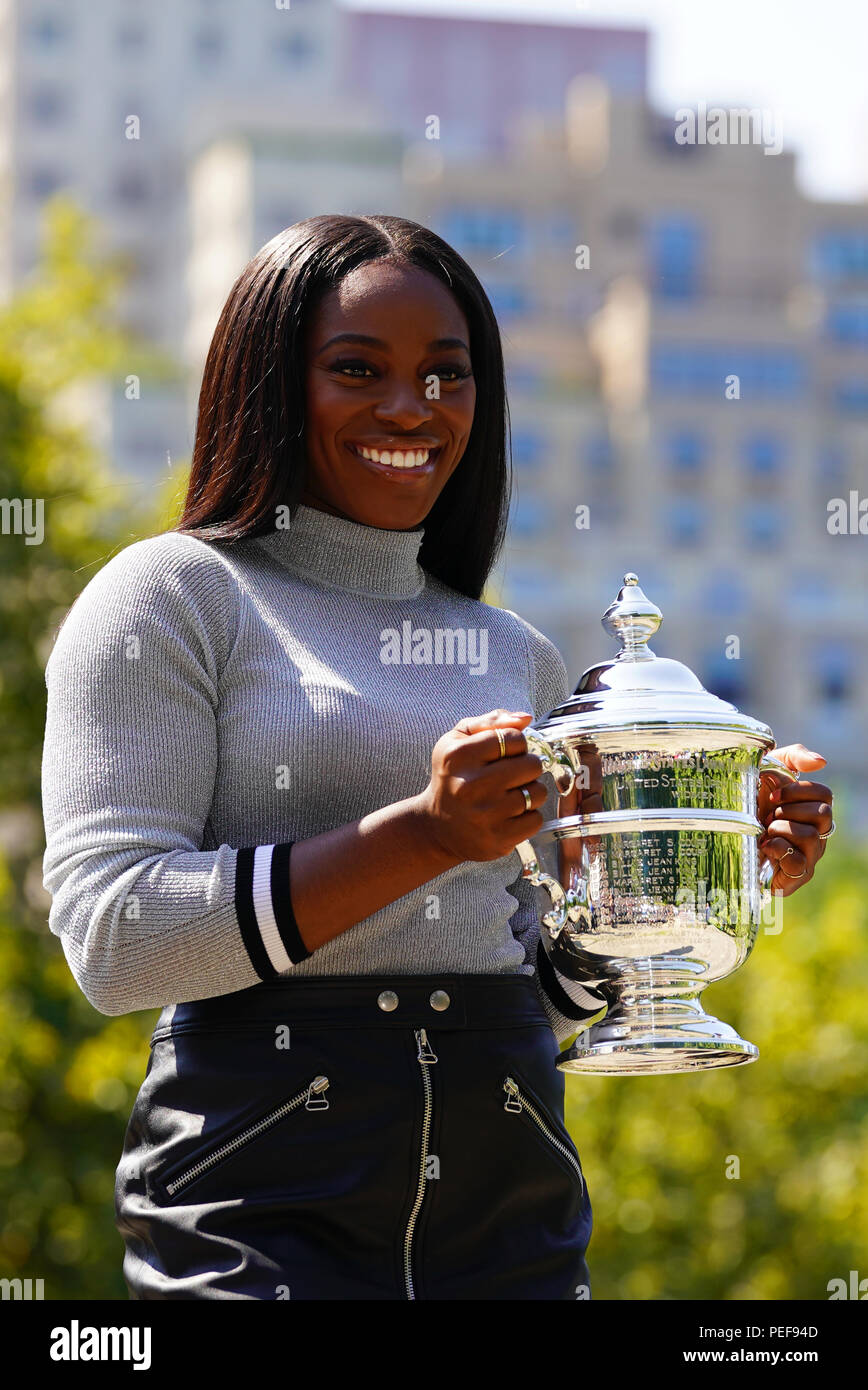 US Open 2017 champion Sloane Stephens of United States posing with US Open trophy in Central Park Stock Photo