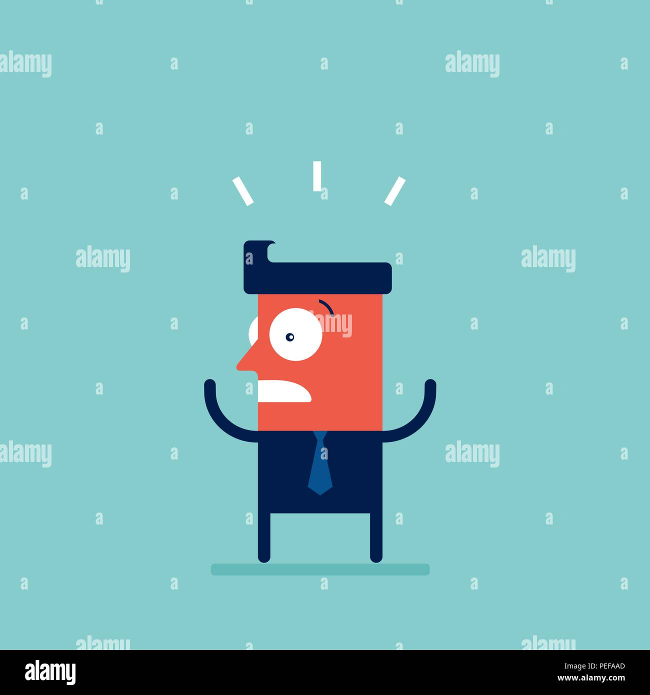 Shocked stressed and surprised businessman Cartoon character - Stock Vector