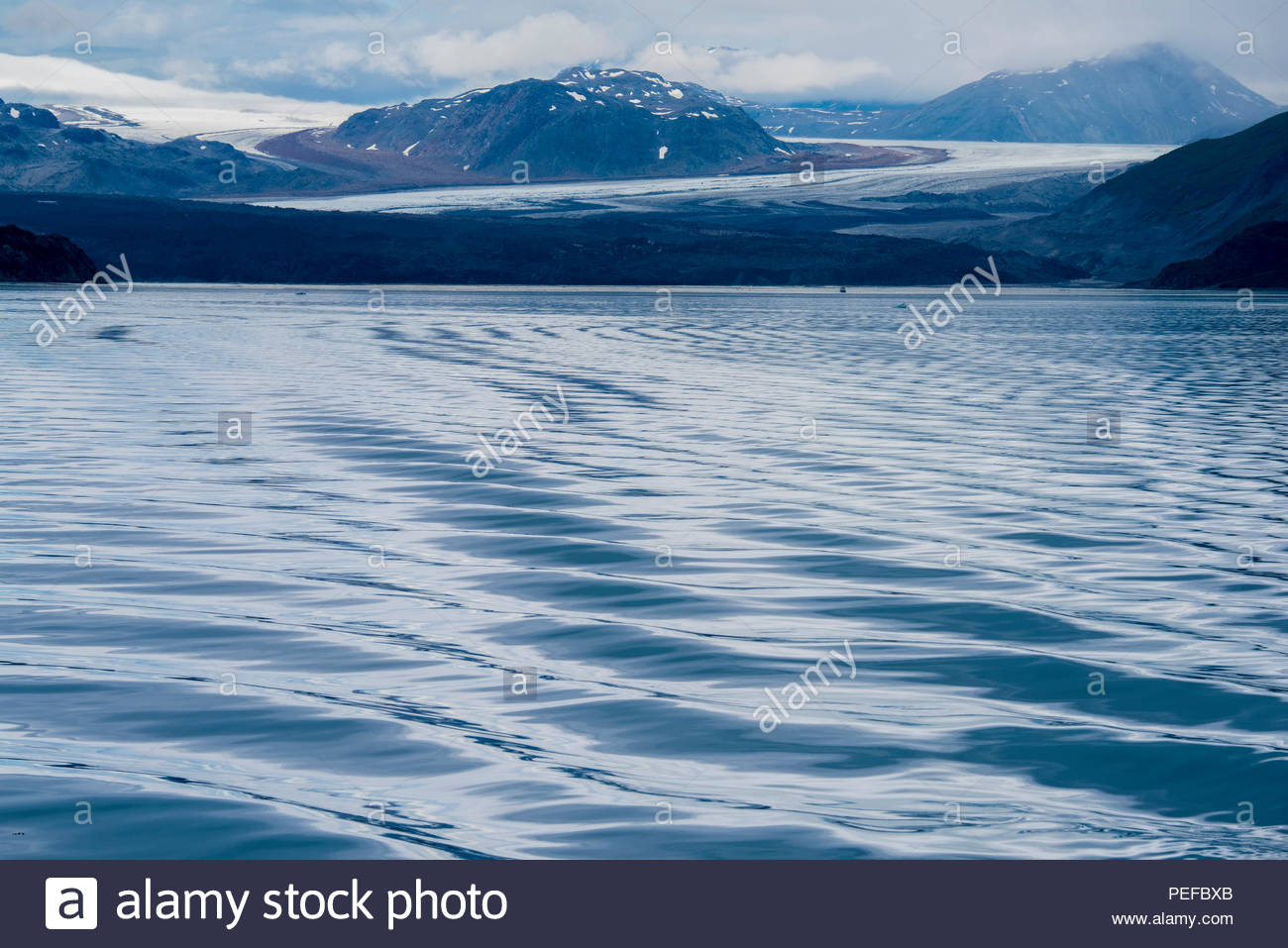 A view of the Grand Pacific Glacier from Tarr Inlet, Glacier Bay National Park. Stock Photo