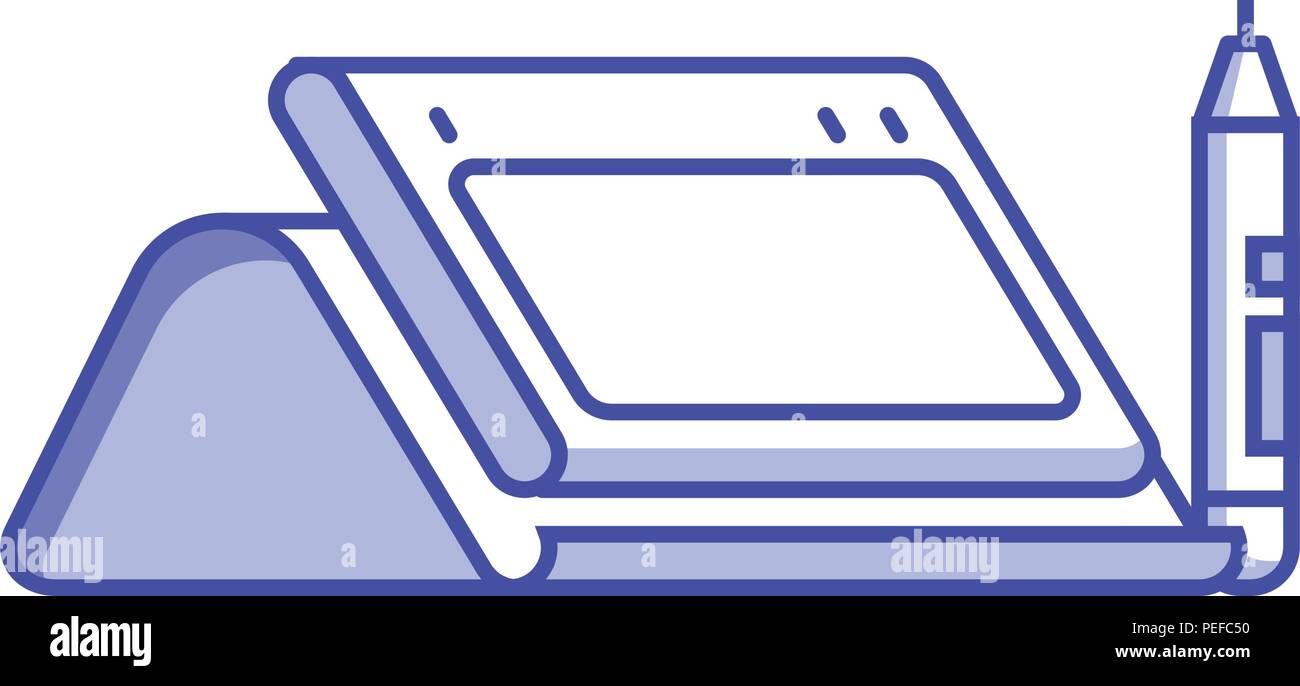 Graphic Drawing Tablet With Stand And Stylus Icon In Flat Design Line Art Digital Designer Device Isolated On White 2d Perspective View Stock Vector Image Art Alamy