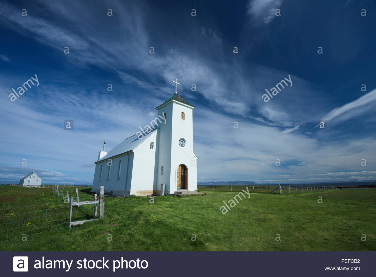 A church on Flatey Island, the largest island of the western islands, located in Breidafjordur on the northwestern part of Iceland. Stock Photo