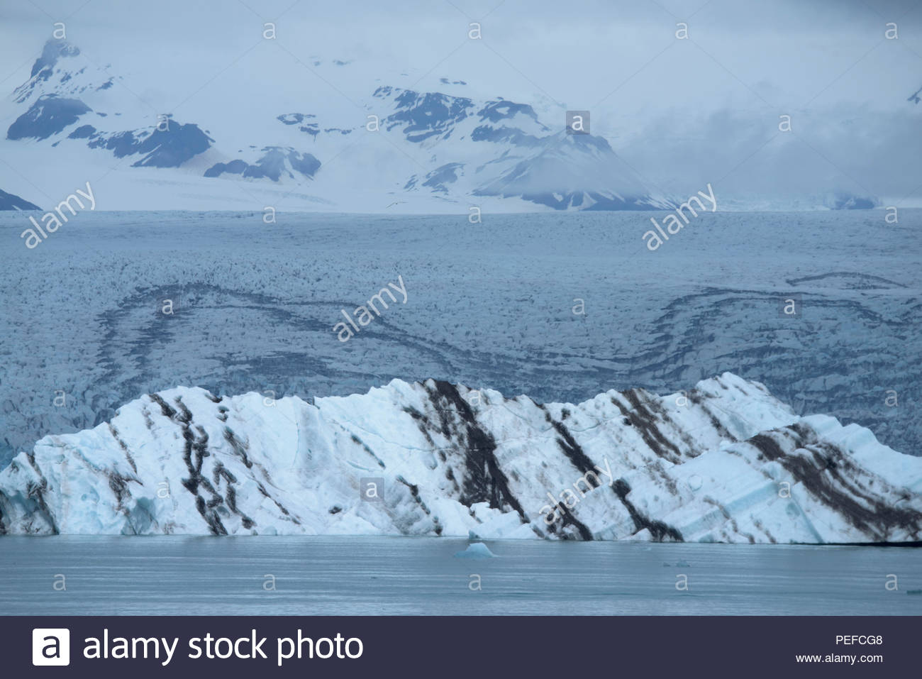 Vatnajokull, Iceland's largest glacier in Iceland, covering 8% of the island. Stock Photo