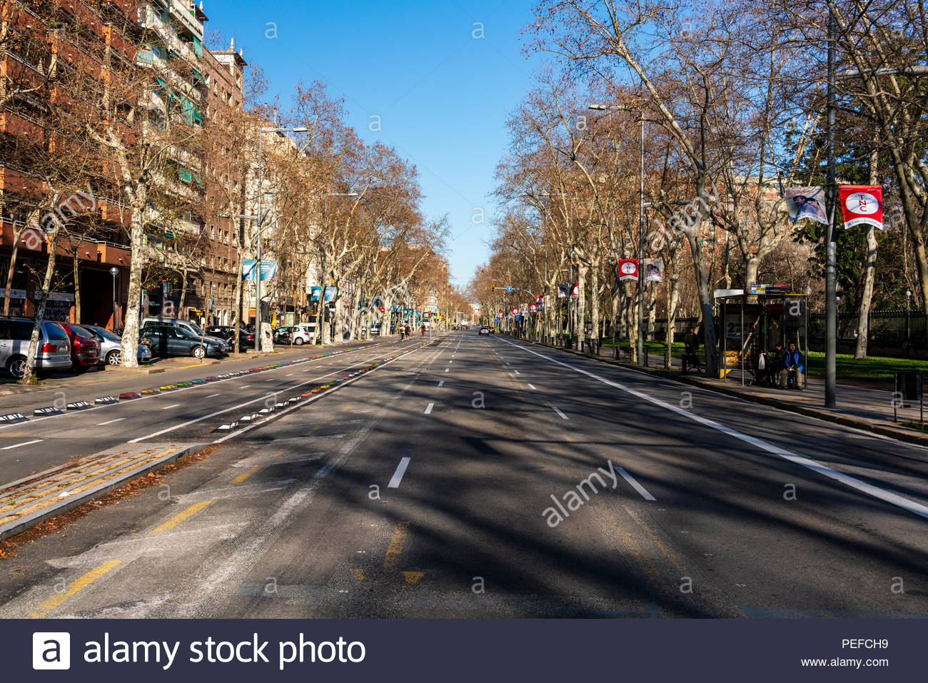 The quiet streets of Barcelona City during the winter - Stock Image