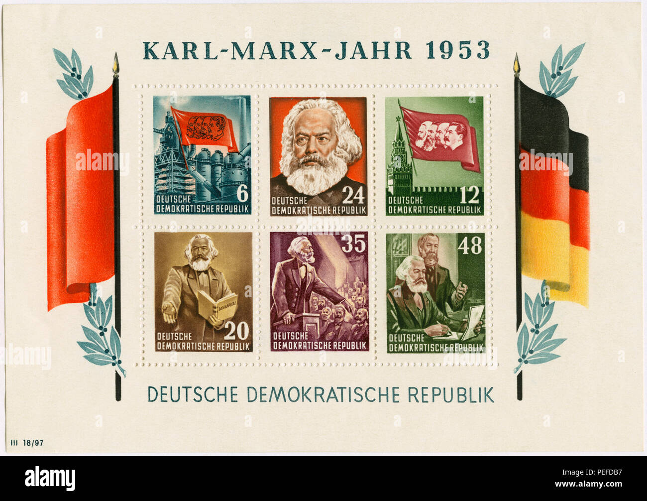 Karl Marx Commemorative Postage Stamp Sheet, East Germany, DDR, 1953 - Stock Image